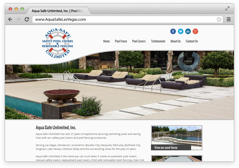 Screen capture of the new Aqua Safe website