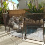 Brown removable mesh pool fence